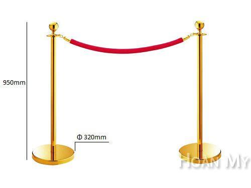 cột chắn inox dây trùng vàng